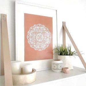 Marrakesh Decor Mandala in Solid Sandstone by Pick a Pear Wall Art Print | Unframed