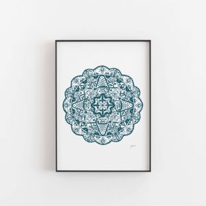 Marrakesh Decor Mandala in White and Teal Wall Art Print by Pick a Pear | Unframed