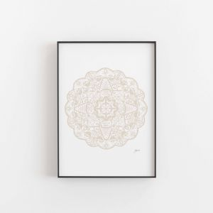 Marrakesh Decor Mandala Wall Art Print in Ivory | Unframed