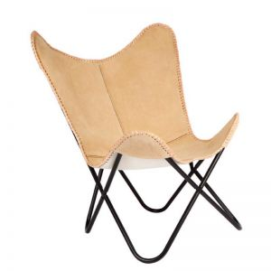 Marsh Suede Leather Butterfly Chair | Fab Habitat