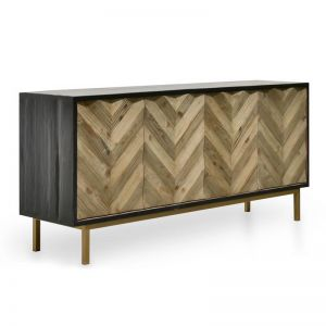 Marshall Reclaimed Sideboard and Buffet | Black W Gold Base