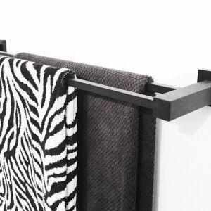 Matte Black Double Towel Rail