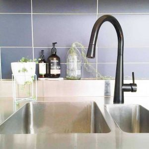 Matte Black Round Pull Out Kitchen Mixer Tap
