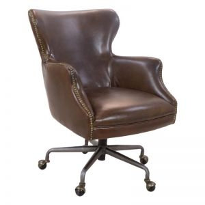 Maya Leather Office Chair | Vintage Cigar