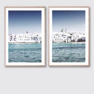 Mediterranean Blue 2 & 3 Pair | Framed Giclee Art Print