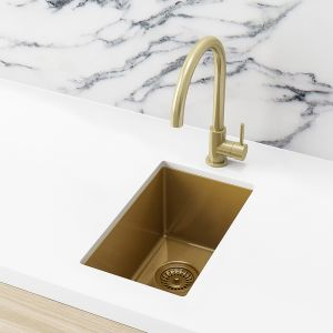 Meir Bar Sink - Single Bowl 382 x 272 - Brushed Bronze Gold