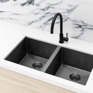 Meir Kitchen Sink - Double Bowl 760 x 440 - Gunmetal Black