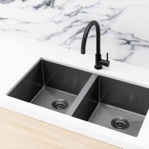 Meir Kitchen Sink - Double Bowl 760 x 440 | Gunmetal Black | MKSP-D760440-GM