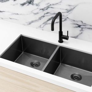 Meir Kitchen Sink - Double Bowl 860 x 440 - Gunmetal Black