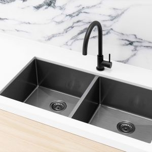 Meir Kitchen Sink - Double Bowl 860 x 440 | Gunmetal Black | MKSP-D860440-GM