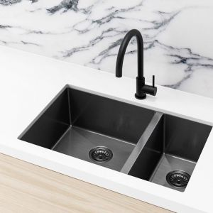 Meir Kitchen Sink - One and Half Bowl 670 x 44 - Gunmetal Black