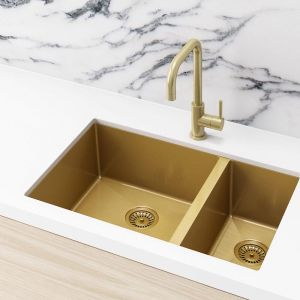 Meir Kitchen Sink - One and Half Bowl 670 x 440 - Brushed Bronze Gold