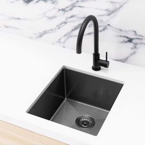 Meir Kitchen Sink - Single Bowl 380 x 440 | Gunmetal Black | MKSP-S380440-GM