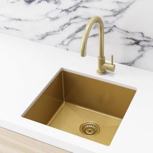 Meir Kitchen Sink - Single Bowl 450 x 450 - Brushed Bronze Gold