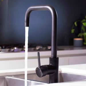 Meir Round Kitchen Mixer Tap Curved - Matte Black