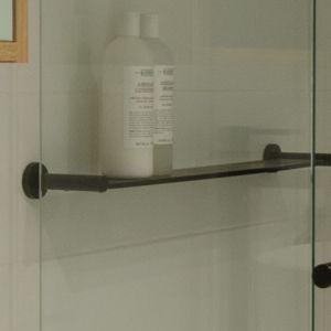 Meir Round Matte Black Round Bathroom Shelf