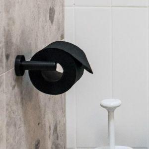 Meir Round Matte Black Round Toilet Roll Holder