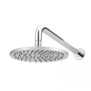Meir Round Polished Chrome Wall Shower 200mm rose, 400mm curved arm
