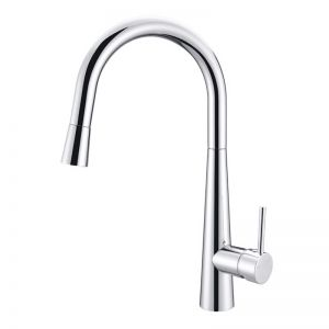 Meir Round Pull Out Kitchen Mixer Tap - Polished Chrome