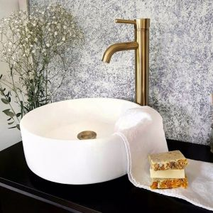 Meir Round Tiger Bronze Tall Basin Mixer with curved spout