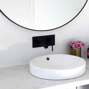Meir Round Wall Basin Mixer and Spout   Matte Black   MC03