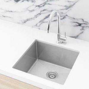Meir Single Bowl PVD Brushed Nickel Kitchen Sink   450x450x200mm