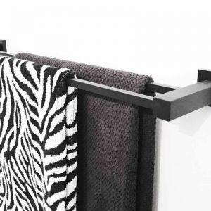 Meir Square Double Towel Rail 600mm - Matte Black