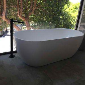 Meir Square Matte Black Freestanding Bath Tap Filler