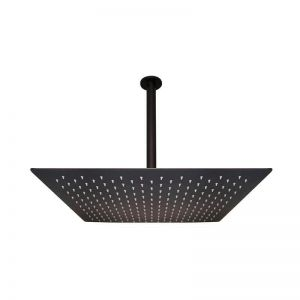 Meir Square Matte Black 500mm Shower with Ceiling Dropper