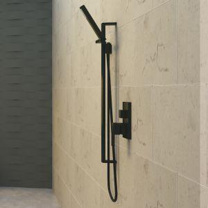 Meir Square Shower on Rail Column - Matte Black