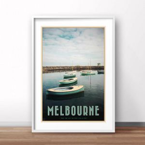 Melbourne Boats | Art Poster | Unframed or Framed