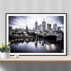 Melbourne View Black and White | Limited Edition Photographic Print or Canvas