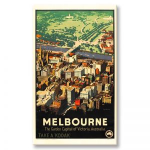 Melbourne Vintage Poster | Stretched Canvas