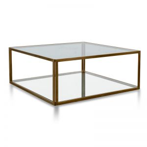Melody 1m Glass Coffee Table | Gold Base
