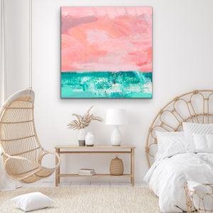 Memories Of You | Abstract Pink Aqua Canvas Print
