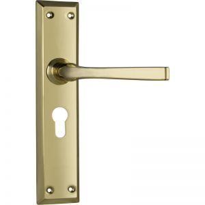 Menton Lever 85mm Euro Set, Polished Brass | Schots