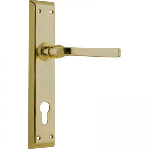 Menton Lever 85mm Euro Set, Polished Brass | Schots