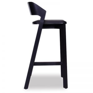 Merano Black Stained Beechwood Bar Stool with Black Pad