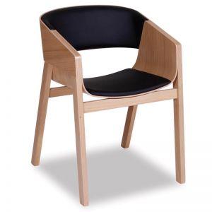 Merano Natural Oak Armchair with Black Pad