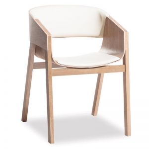 Merano Natural Oak Armchair with White Pad