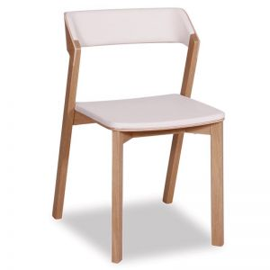 Merano Natural Oak Stackable Dining Chair w White Pad