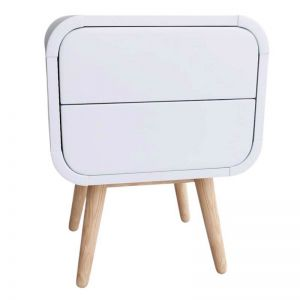 Merlin White Modern Retro Night Stand | Push to Open Drawers