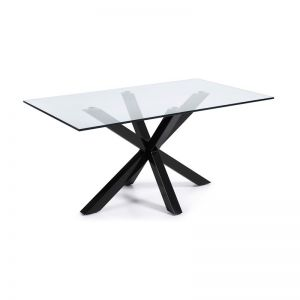 Mermi Table Clear Glass Top | 180 x 100cm | Black epoxy paint steel legs