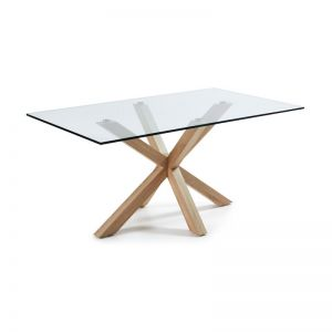 Mermi Table Clear Glass Top | 180 x 100cm | Steel legs wood look finish