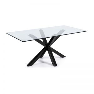 Mermi Table Clear Glass Top | 200 x 100cm | Black epoxy paint steel legs