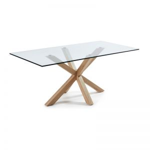 Mermi Table Clear Glass Top | 200 x 100cm | Steel legs wood look finish