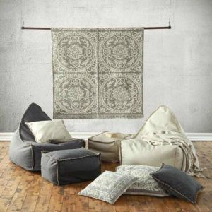 Mero Bean Bag and Ottoman Set | Charcoal | by Zachloe Lifestyle
