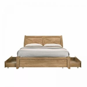 Mica Natural Wooden Bed Frame with Storage Drawers | Double