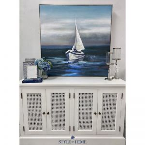 Midnight Mooring | Canvas in Antique Silver Frame