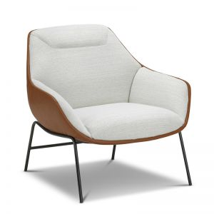 Mii Occasional Lounge Chair | Dove White & Tan
